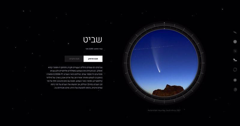 כוכב שביט מתערוכת מבט אל החלל. מוזיאון המדע בירושלים